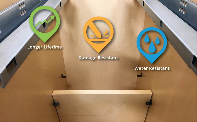 Artisan White Shaker (RTA Cabinet Store): UV Coated natural wood grain interior